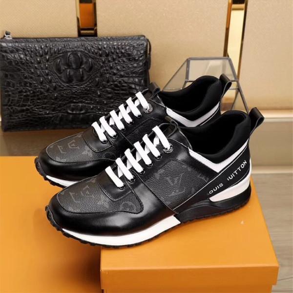 Кожа шитья высокого качества Новая мода джентльмен Имя бренда расширенный ручной досуг кроссовки Черно-белые повседневные движения обувь