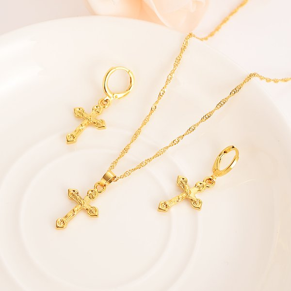 24 k fine solid gold GF small cross Pendant Necklace chain Earrings sets Christian jewelry sets Best Jesus bridal Gifts handsome