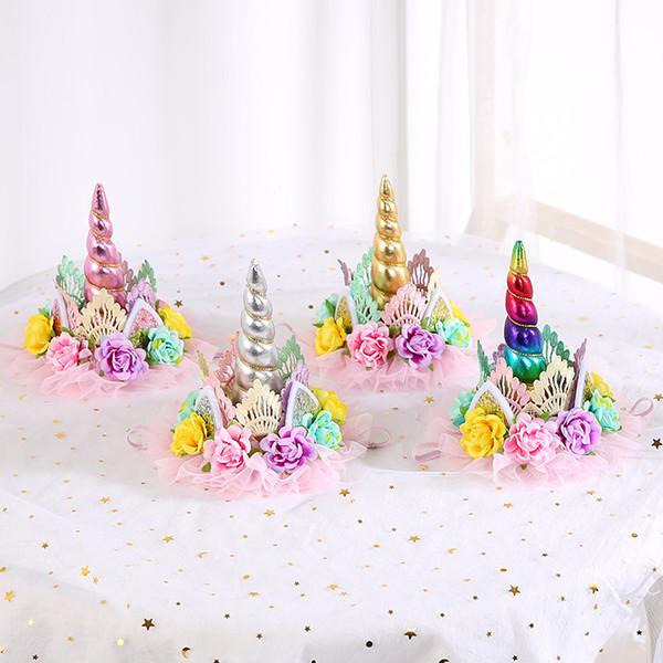 1 europeu e americano de moda 3 cores rendas unicórnio hairband para festa de aniversário das crianças