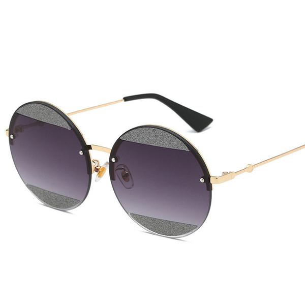 new sunglasses luxury women oversized round eyewear 2019 gradient brown pink rimless sun glasses for female gift brand designer uv400
