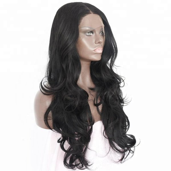 Natural Looking Cheap 24 Inches 1B Black Wavy Long Side Part Heat Resistant Fiber Hair Synthetic Lace Front Wigs for Black Women