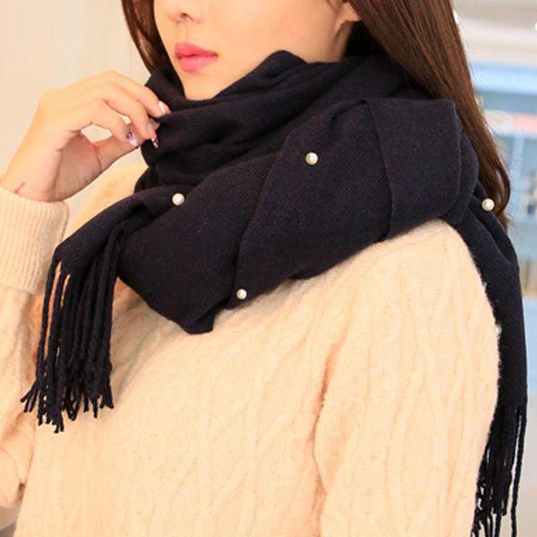 Nail nuevo grano de la perla suave bufandas de invierno de las mujeres de la bufanda de la borla de lana grande Tippet Manta sólido caliente grueso de punto bufandas