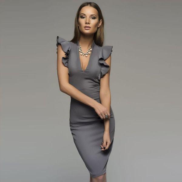 adce02396fd office dresses styles chiffon Coupons - Women Dress Fashion New Style Sexy Office  Dress V Neck