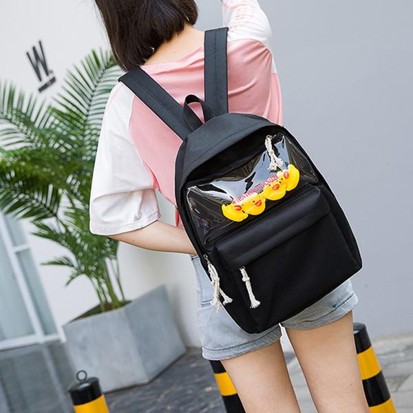 xiniu sacs d'école de mode pour les adolescentes jouet mignon caneton femmes toile sac à dos solide sac à bandoulière de couleur Messenger Bag