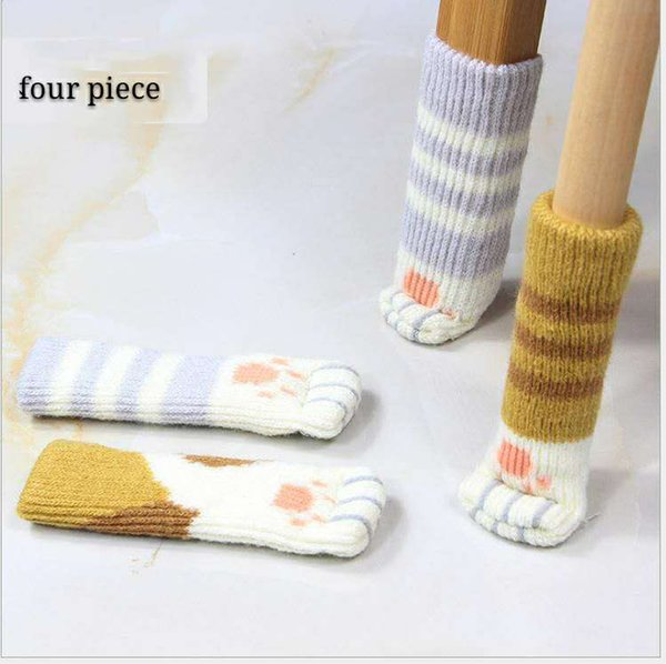 Chair foot cover cat shape mute thickening knit chair leg cover stool foot cover chair leg protector 4 Pack