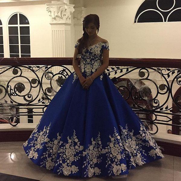 Prenses Mavi Gelinlik Modelleri Arapça Kapalı Omuz Abiye Türkiye Aplike Çiçek Elegant Fomral Parti Önlük 2019 elbiseler de soirée