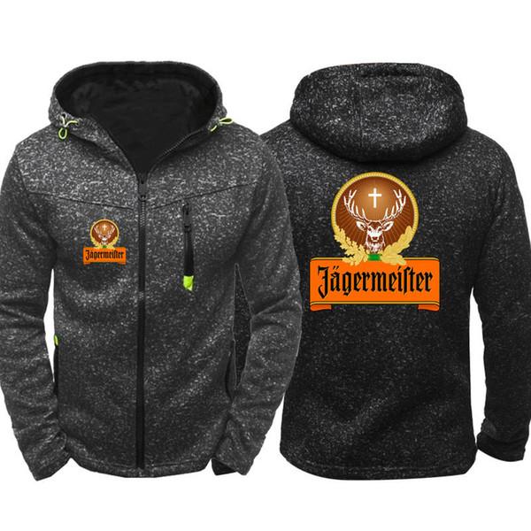 Großhandel Jagermeister Hoodies Männer Sport Tragen Persönlichkeit Flut Jacquard Hoodie Reißverschluss Sweatshirt Männlichen Hoody Herbst Mantel