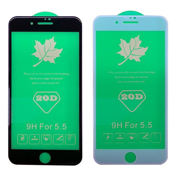 20D Borde curvo Protector de pantalla de cristal templado para iPhone X XS XS Max 6 6s 7 8 Plus I Phone 8plus 7plus Película de cubierta completa 100 unids / lote