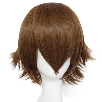 Коричневая Волна Голова Cos Аниме Парик Человек Короткие Свободные Волосы Сплошной Цвет Коричневого Химического Волокна Высокотемпературный Шелк