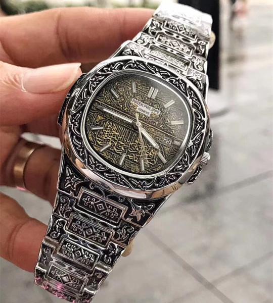 2019 hochwertige edelstahl uhr herrenmode casual kalender schweizer quarz herrenuhren sport wasserdichte uhr gold uhr reloj