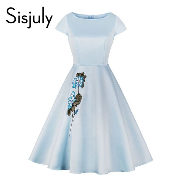 Sisjuly Women Dresses Casual Elegant Blue Vintage Office Lady A Line Floral  Embroidery Female Fashion Retro Preppy Dress Woman Dress Affordable Prom