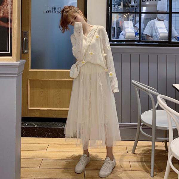 femmes robe pull 2019 vêtements d'hiver en vrac tricot blanc gaze manches longues cardigan jupes doux manteau de vent outfit deux pièces