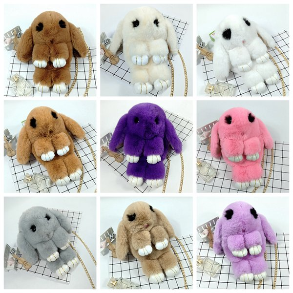 Rabbit Crossbody Bag Girls Fluffy plush Fur Bag Artificial bunny Single Shoulder Bags Women Valentine's Day purse LJJA3762-4