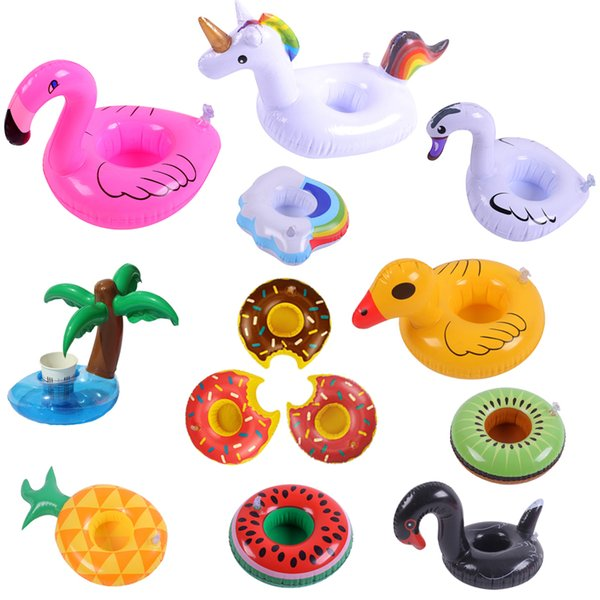 best selling Inflatable Flamingo Unicorn Drinks Cup Holder Pool Floats Bar Coasters Floatation Devices Children Bath Toy Party Supplies