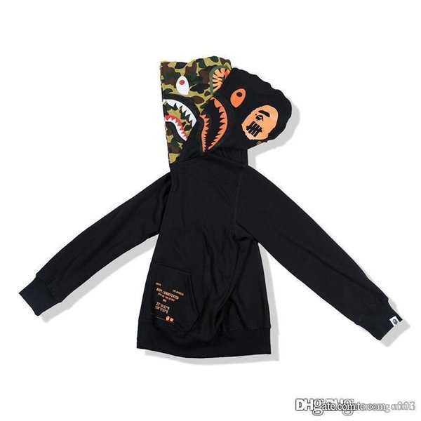 19SS Japanese popular logo fake two hats camouflage print start zipper coat hoodie men and women alike style trend