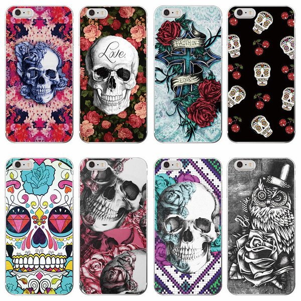 Skull Head Pattern Crashproof Soft Back Cover TPU Cell Phone Cases Protective Covers For Apple iPhone X XR XS MAX 6 6S 7 8 PLUS Samsung