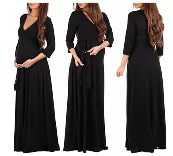 6a0b3047b7046 Women Dress Maternity Photography Prop Pregnancy Clothes Elegant Maternity  Evening Dresses Cross V-Neck Belt Long Dress MMA1123