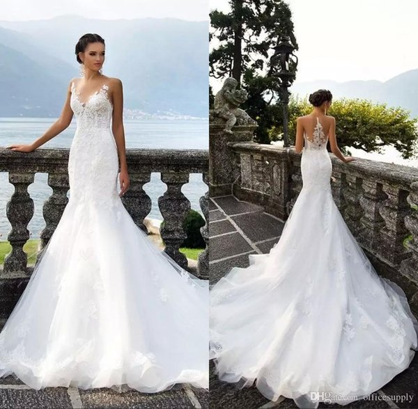 Beach Plus Size Wedding Dresses Sheer Bateau Neck Sleeveless Button Back Mermaid Wedding Gowns Bridal Dress
