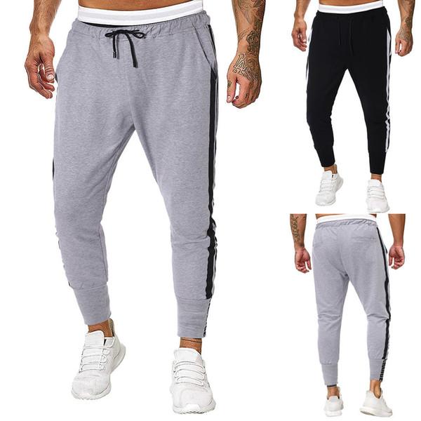 Erkekler Koşucular Sweatpants Erkek JoggerTrouser Erkekler Ekleme Saf Renk tulumları Casual Cep Sport Çalışma Casual Pantolon Pantolon M-2XL