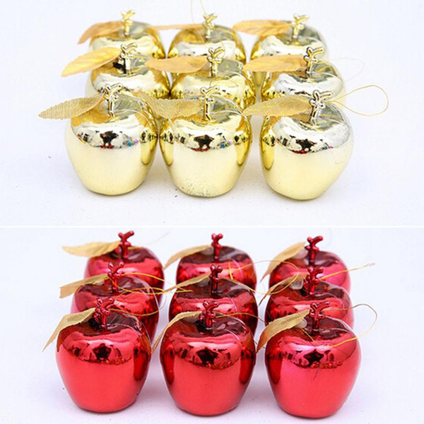 12 Pcs Apples Christmas Tree Hanging Ornament Home New Year Party Events Fruit Pendant Red Golden Christmas Decoration