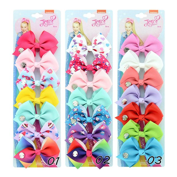 Cute JOJO Bow Hair Clips Set 6 Styles Bowknot Children Party Hair Accessories Baby Kids Girls Bows Hairpin 7 Pcs/Set Boutique Barrette H990F