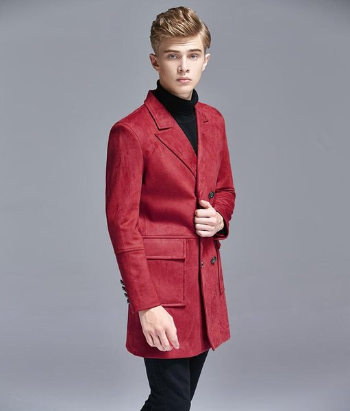 Mens trench coats man Double-breasted long coat men suits skin velvet clothes slim fit overcoat long sleeve 2019 new