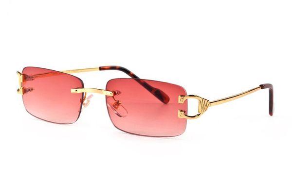 Free ship rimless fashion buffalo horn sunglasses retro vintage men brand designer shiny gold frame leopard logo women top quality with box