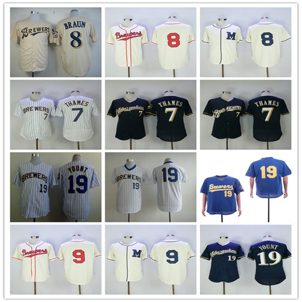 newest 95ba6 cc6b3 2019 Men Baseball Jerseys Milwaukee Brewers 7 Eric Thames Jersey 8 Eric  Thames 9 Manny Pina 19 Robin Yount White/Royal Black Gray From  Jerseyhome99, ...