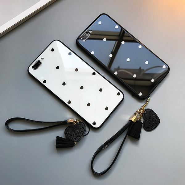 iPhone6s kleines Liebesglasoberteil für iphone xr Handyoberteil iphone einfaches 8X Abzuglinie xsmax ausgeglichenes Glasoberteil-Handyabdeckung