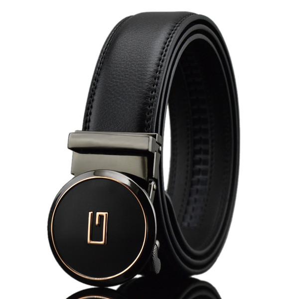 Cinturones de diseño KAWEIDA para hombres 2018 Letter G Metal Hebilla automática Círculo Cinturón Cinturón de cuero dividido genuino para jeans