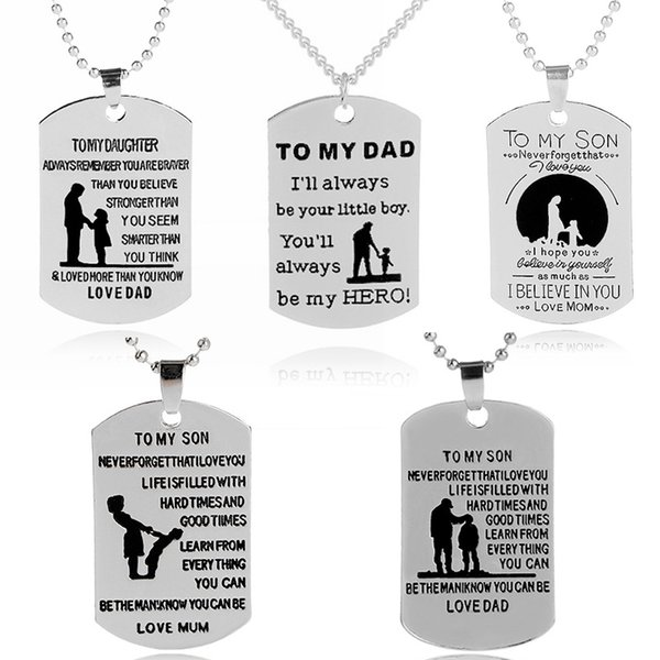 Wholesale Necklace Dog Tag Father Daughter Mother Son Pendant Necklace  Nameplate Fashion Necklace Love Gift To My Daughter/Son Family Jewelry  Diamond