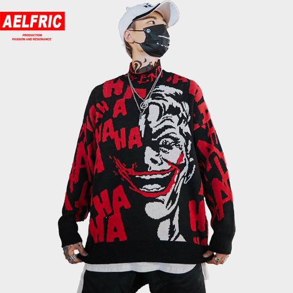 Divertente clown 3d stampa maglioni stand colletto lavorato a maglia cappotto moda hip hop maglione streetwear coppia pullover maglieria bf13