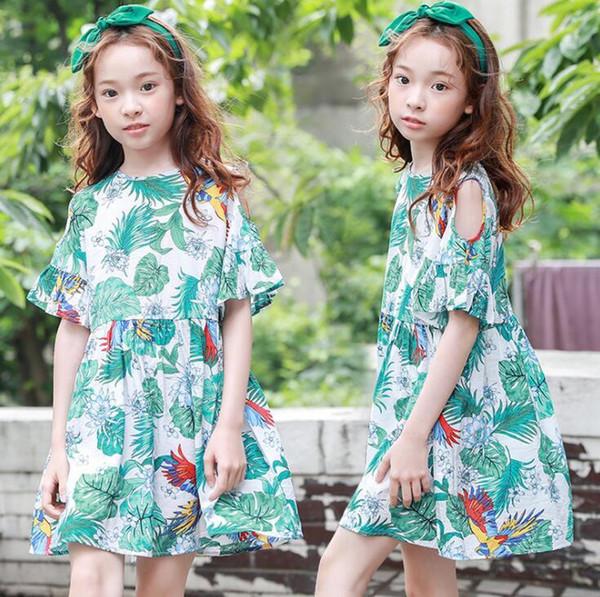New Girls Longuette cotton Broken flowers Dress Dresses Girl Prom Dresses Summer Princess Dress best quality 4-21 lw49
