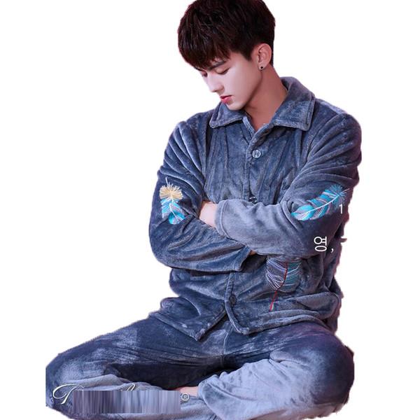 Pijama masculino 2018 bordado hombres pijama conjunto de invierno grueso cálido franela coral polar pijamas para hombres ropa de dormir ropa de dormir