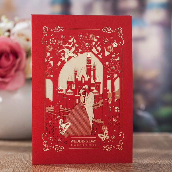 Original Bride and Bridegroom Invitation Card Wedding Party Decoration RED Luxury Wedding Invitations Cards Marriage Supplies