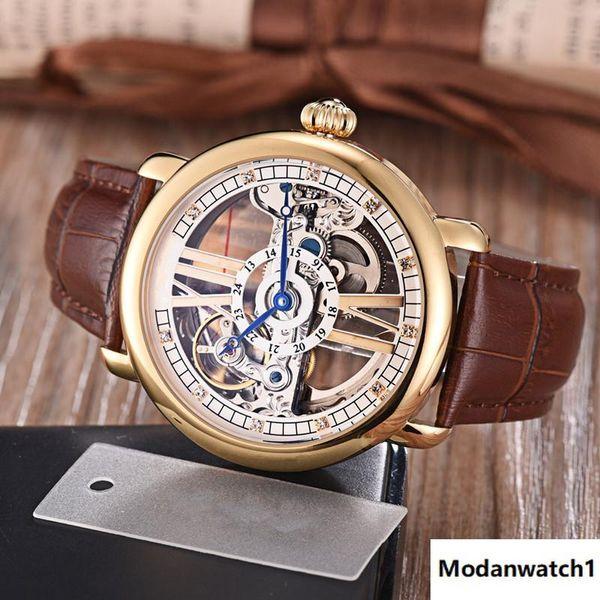 Nuevos relojes transparentes para hombres Relojes transparentes para hombres de negocios 42 mm 12 mm Impermeable Disminución de lotes de maquinaria automática