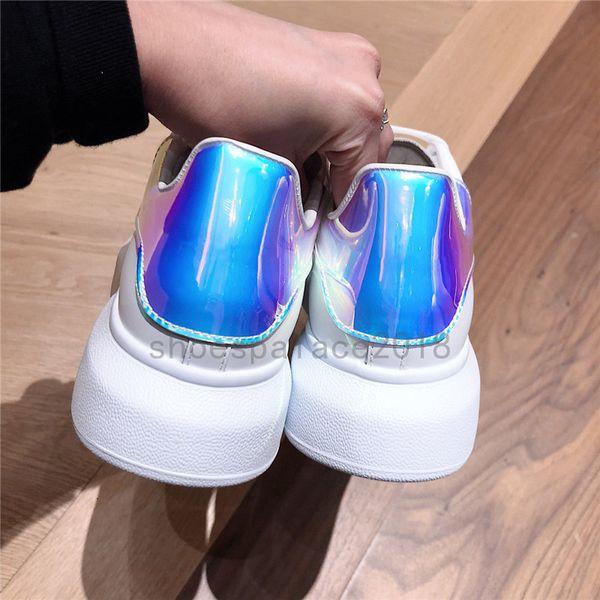 Yeni Gelenler Renkli Yansıma Erkek Rahat Ayakkabılar Platformu Moda Lüks Tasarımcı Kadın Sneakers Deri Bağbozumu Eğitmen Ayakkabı Espadrilles