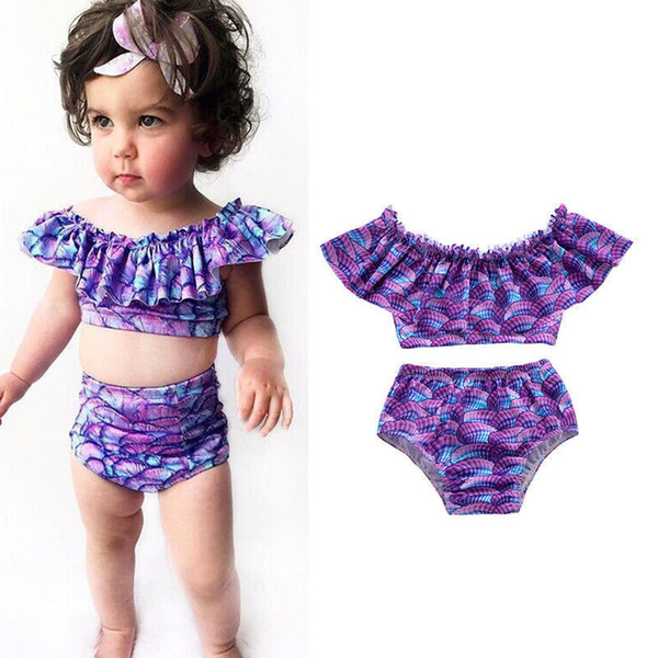 Children Swimwear INS baby girls shell print off shoulder Lotus leaf collar top+shorts 2pcs/set 2019 summer Bikini Kids Swimsuit C5997