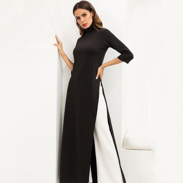 Women Party Work Plus Size Elastic Asymmetrical Black Maxi Dress Spring Winter Stretchy High Split Extra Long Dresses Designer Clothes
