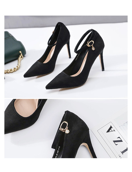 The new factory direct sales professional 2019 han edition pointed ultra high heels fashion buckles for women's shoes pure color lighter sho