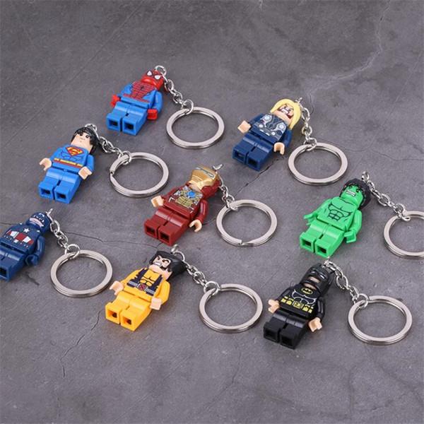 Super Hero Avengers Iron Man Рисунок Keychain 27 Стили Building Block DIY Игрушки Брелки Детские подарки Игрушки оптом GSS394