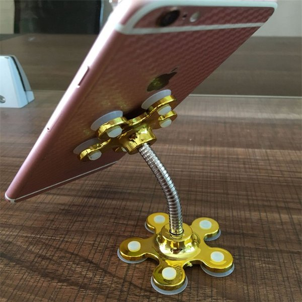 Universal Sucker Stand for Cell Phone 360 degree Rotatable Metal Flower Magic Suction Cup Mobile Phone Holder Car Bracket Mount