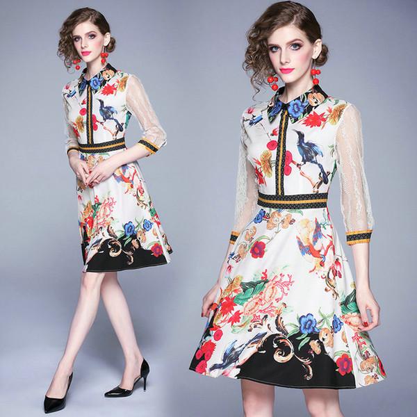 Fashion Runway Damen Kleid Langarm Temperament Kleider 2019 Sommer Herbst Büro Kleid High-End-Kleidung