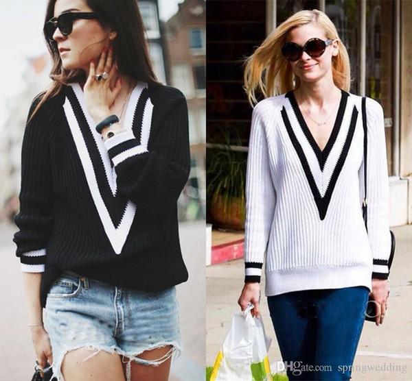Novas Camisolas Outono Inverno Suéter De Cashmere Para As Mulheres Moda Sexy Com Decote Em V Camisola Solta de Malha Pullovers FS5060