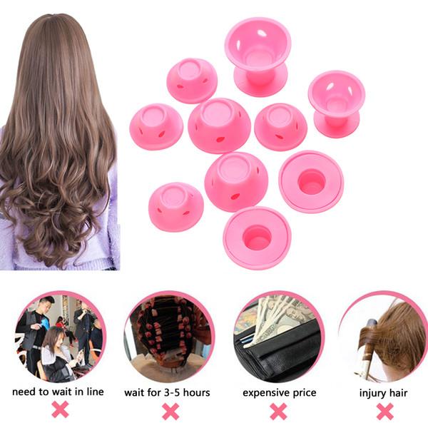 10 unids / set rodillos de cuidado del cabello mágico de goma suave rizador de pelo de silicona sin calor herramienta de peinado del cabello