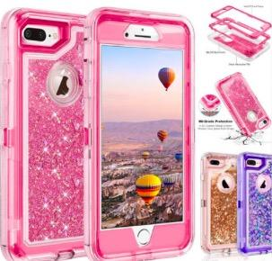 Bling crystal Liquid glitter case 360 degree cellphone Defender rugged shockproof waterproof back cover for iphone XR XS MAX s10 plus