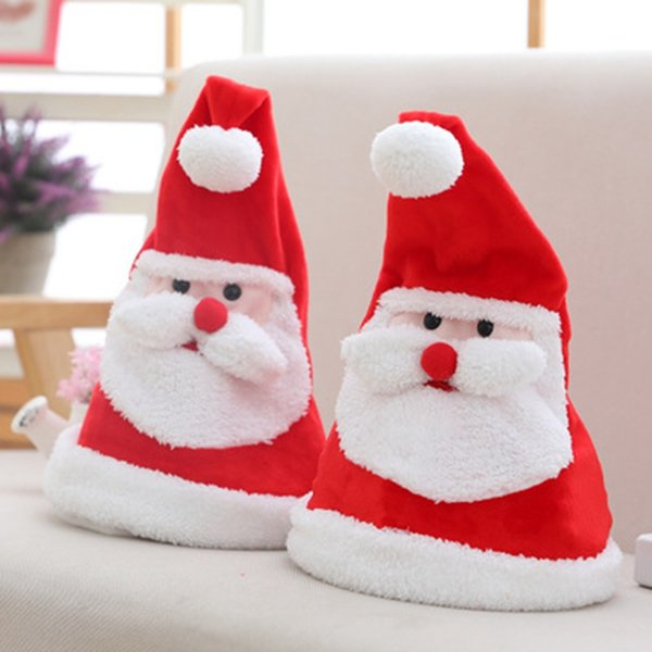 Navidad eléctrica Sombrero Luminoso felpa casquillos de la Navidad con música swing Led Santa Claus sombreros de fiesta Decoraciones de Navidad regalo ZZA1619-5
