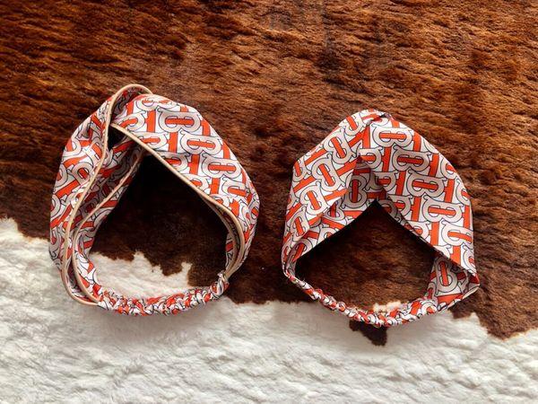 con i tag più nuovi di marca Fascia in seta con elastico da donna con stampa a croce Cintura europea Design bur fasce Headwraps Whoelsale