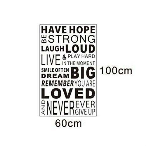 Inspirational Wall Quotes Sayings Decals Removable Vinyl Sticker Kids Room Living Room Bedroom Classroom Office Home Decor