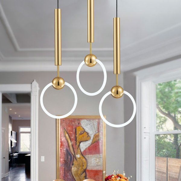 New Modern Chandelier Circle Ring Chandelier Light for Living Room Pendant LED Ring Circle Suspension Lighting Fixture Decor